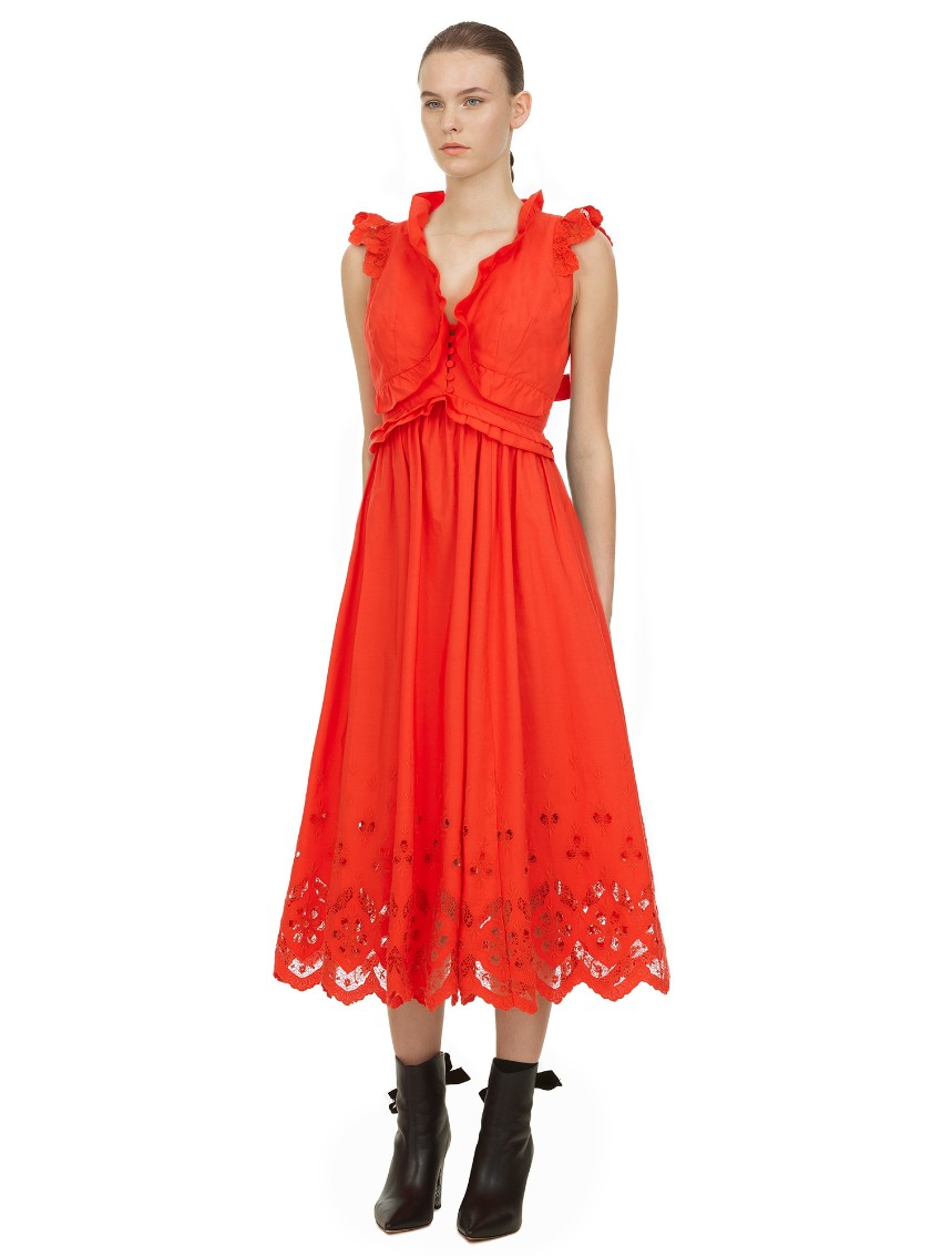 Self Portrait Orange Cotton Broderie Sleeveless Midi Dress