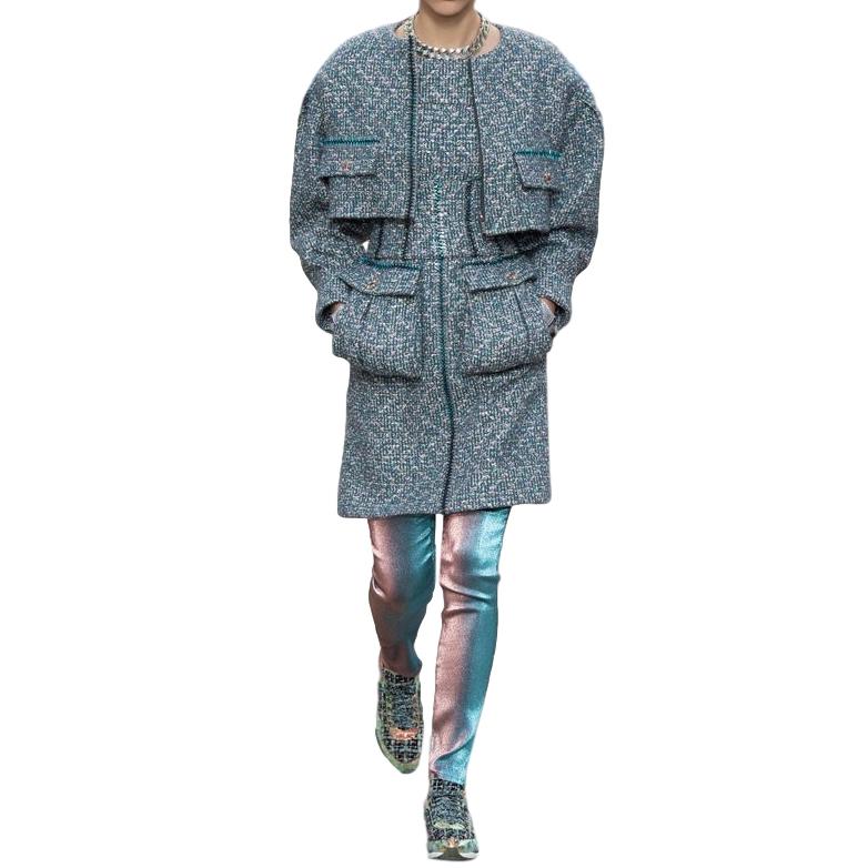 Chanel Blue-Gray Runway Tweed Boucle Dress & Jacket