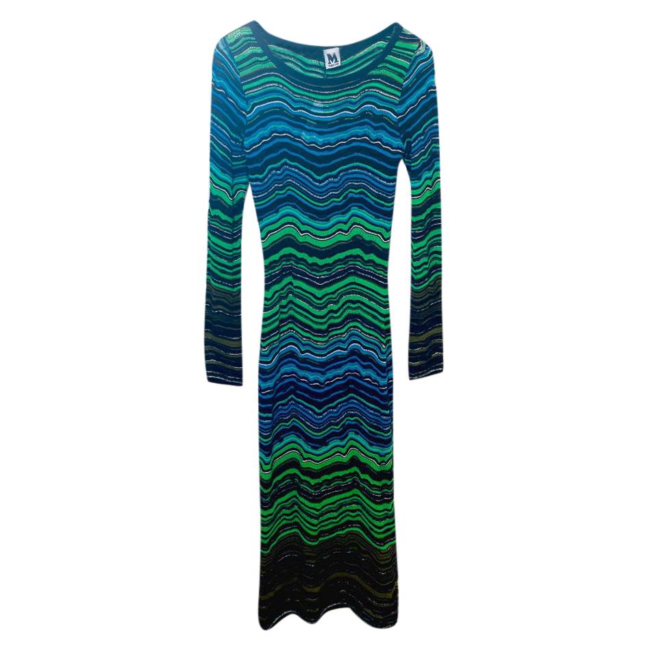 M Missoni Green & Blue Wavy Knit Dress