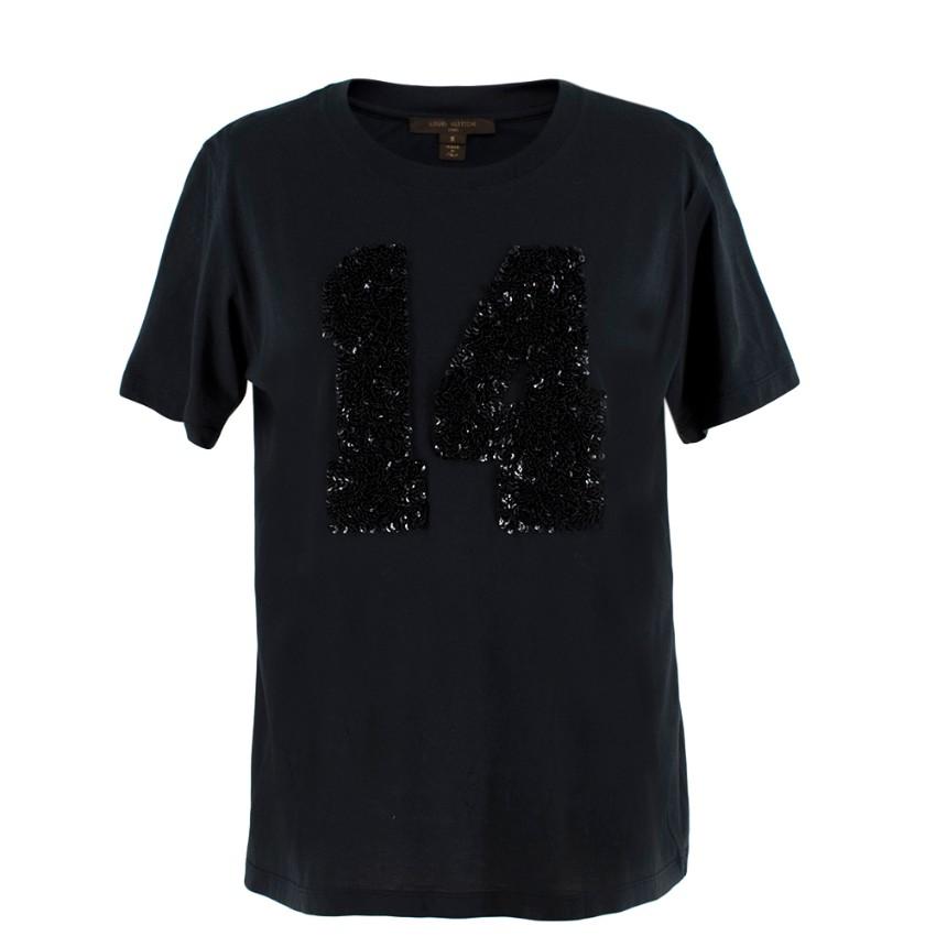 Louis Vuitton Black Cotton 'Paris' 14 Sequin Embellished T-shirt