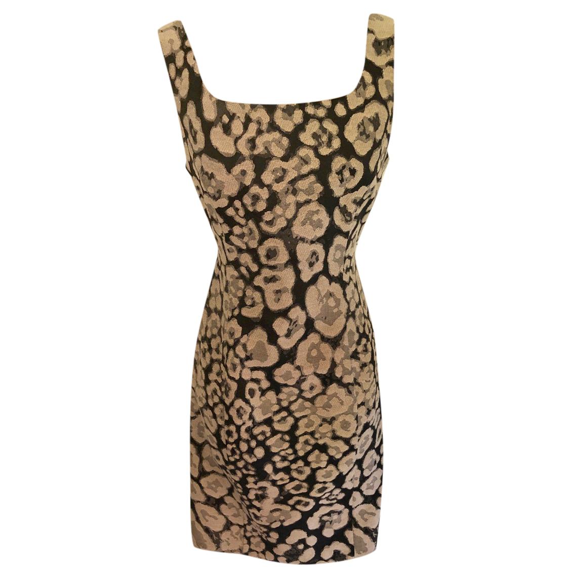 Armani Collezioni Animal Print Sleeveless Shift Dress