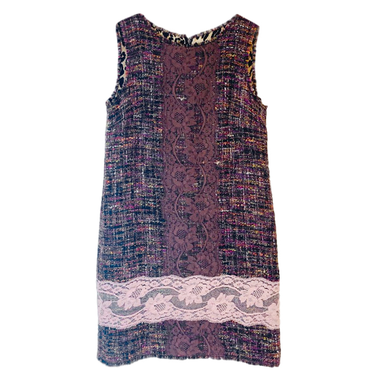 Dolce & Gabbana Sleeveless Lace Trimmed Shift Dress