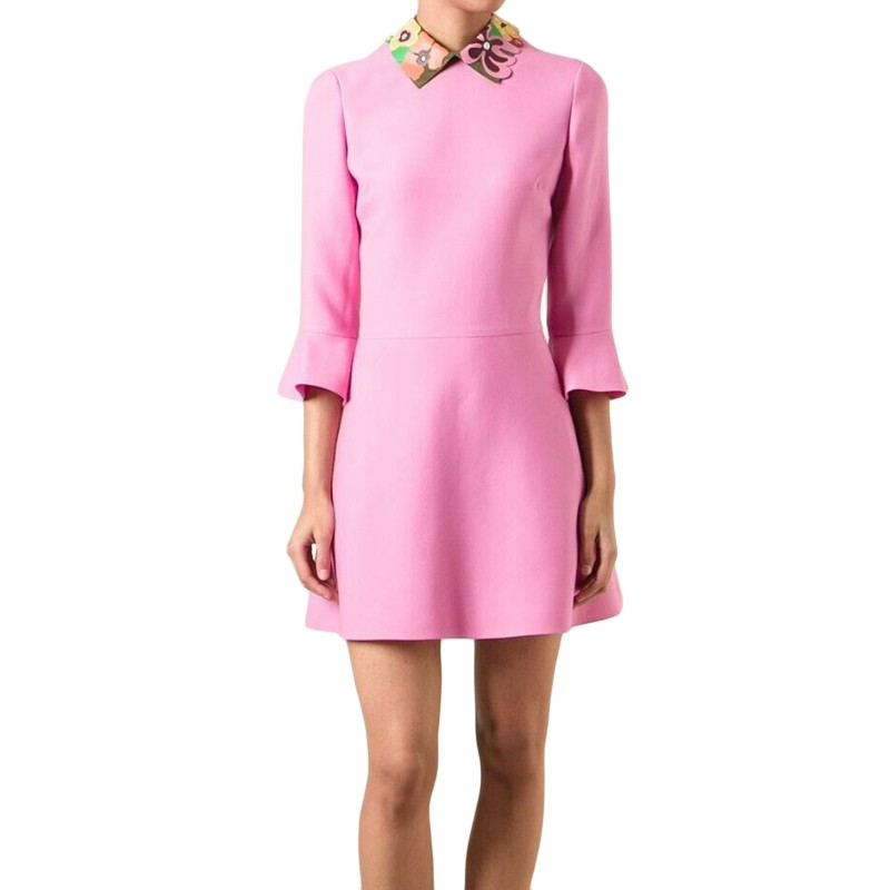 Valentino Pink Wool Blend Runway Leather Collar Dress