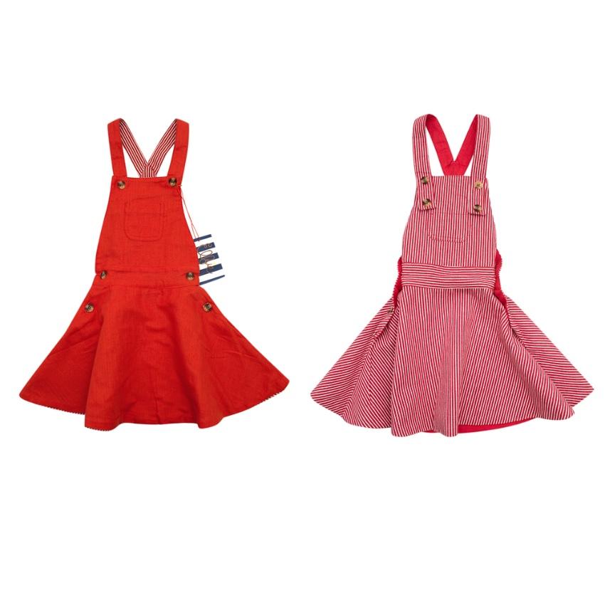 Elfie x Alex Eagle Red & White Striped Reversible Pinafore Dress