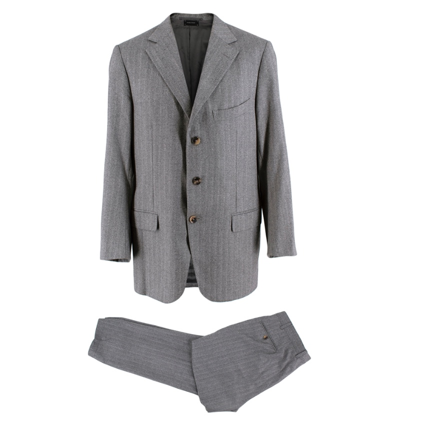 Ermenegildo Zegna Couture Grey Wool Single Breasted Suit