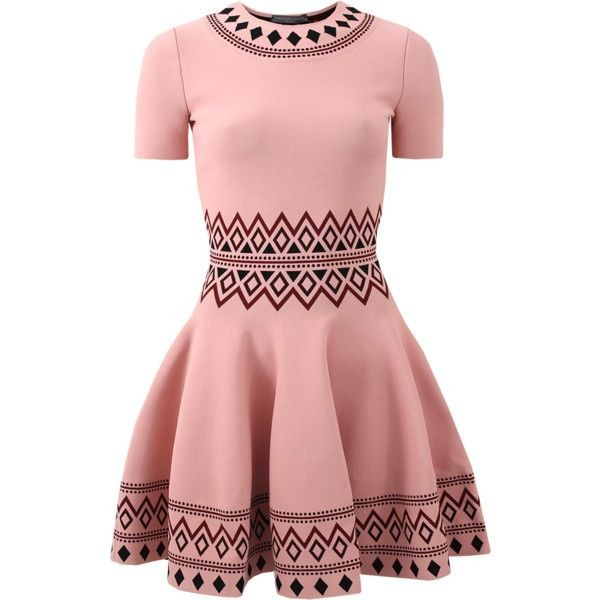 Alexander McQueen Pink Stretch Knit Skater Dress