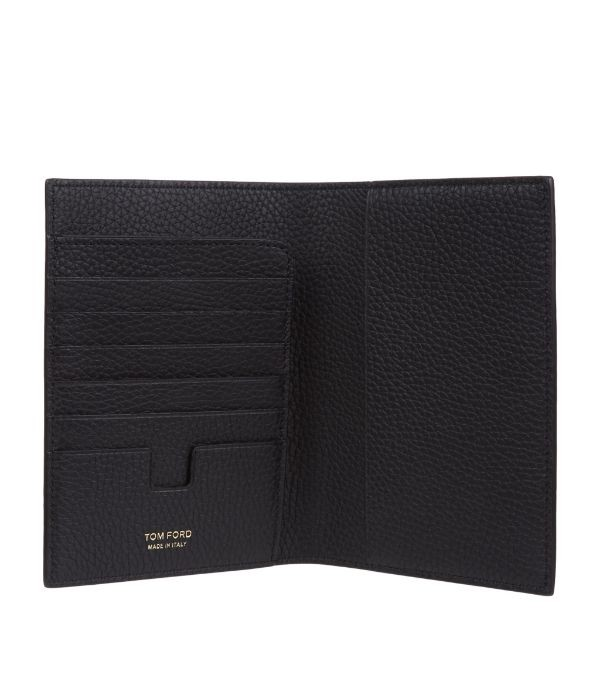 Tom Ford Black Grained Leather Passport Holder