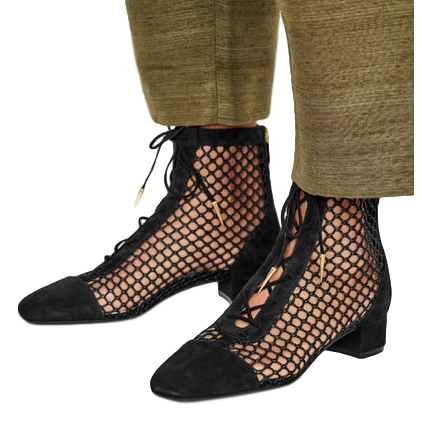 Dior Runway Black Naughtily-D Fishnet Ankle Boots