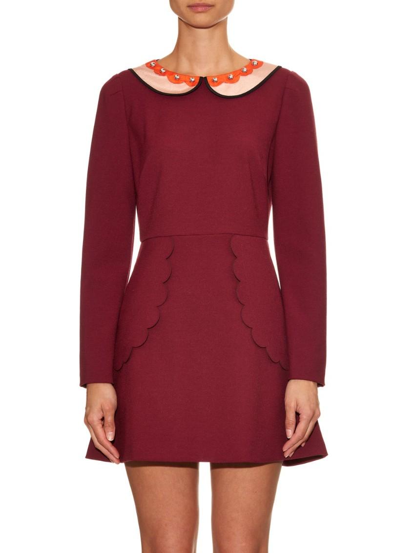 REDValentino Burgundy Jersey Dress with Peter Pan Collar