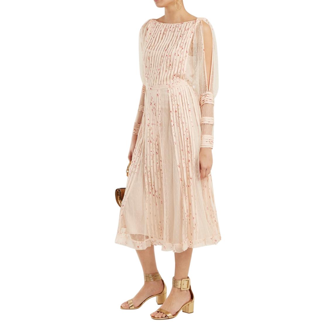 REDValentino Blush Pleated Georgette Lace Panelled Midi Dress