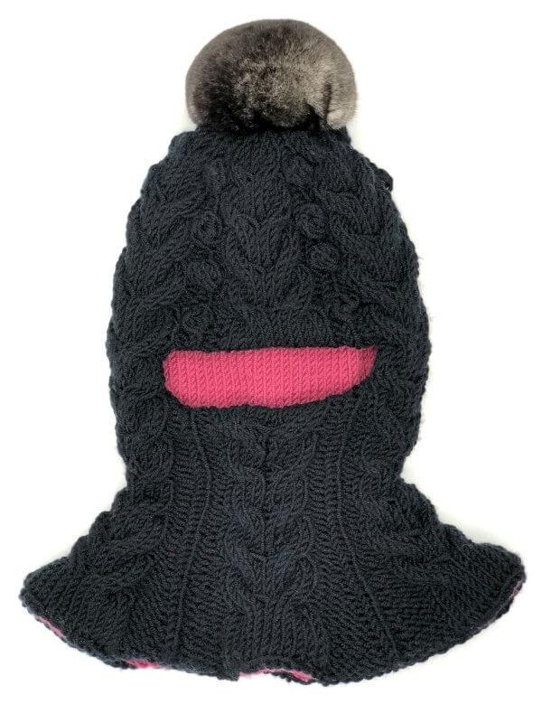 FurrySD chinchilla pompom black wool kid's balaclava