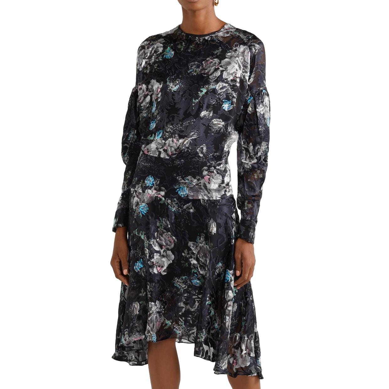 Preen by Thornton Bregazzi Jemima Satin Devore Asymmetric Dress