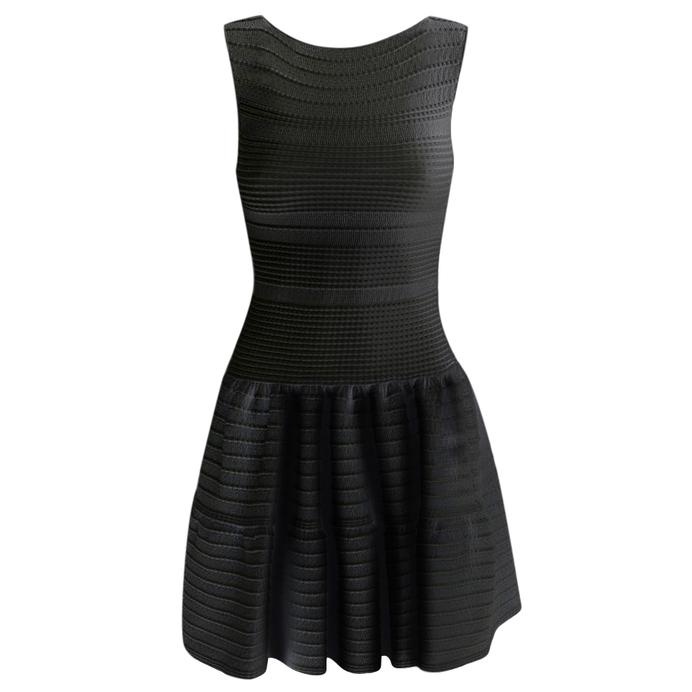 Alaia Black Sleeveless Knit A-Line Dress