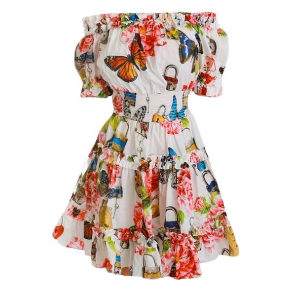 Dolce & Gabbana White Butterfly Padlock Print Bardot Dress