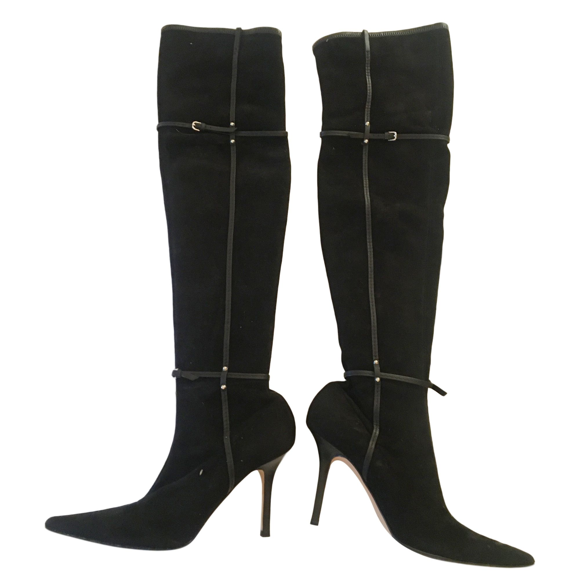 Gucci Black Stretch Suede Buckle Detail Boots