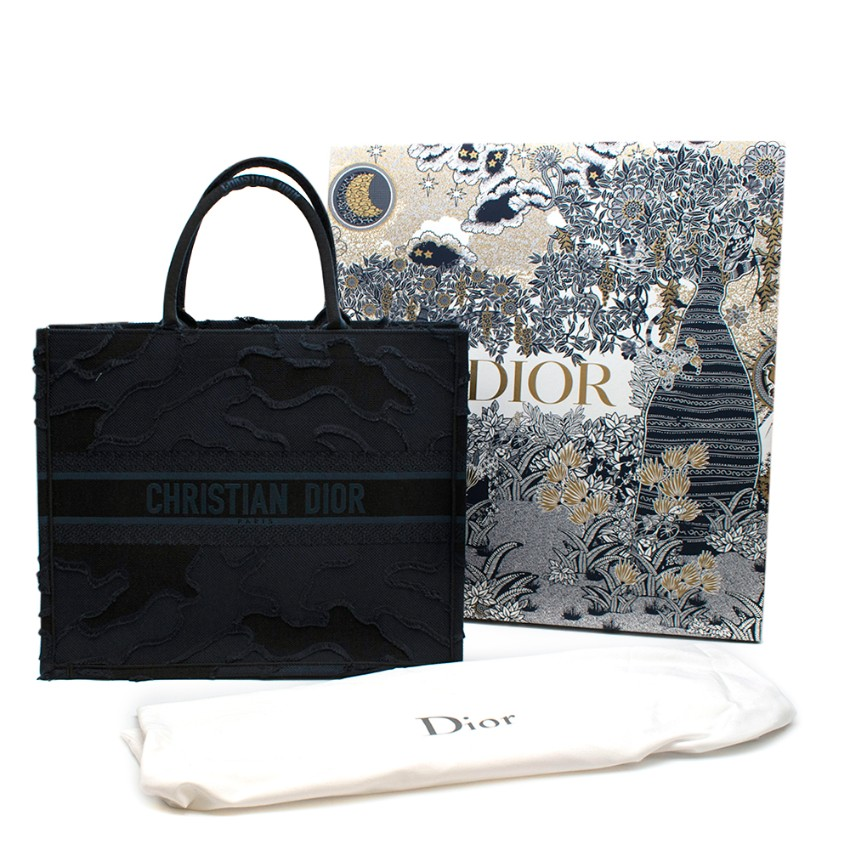 Dior Navy Blue Camouflage Embroidered Book Tote