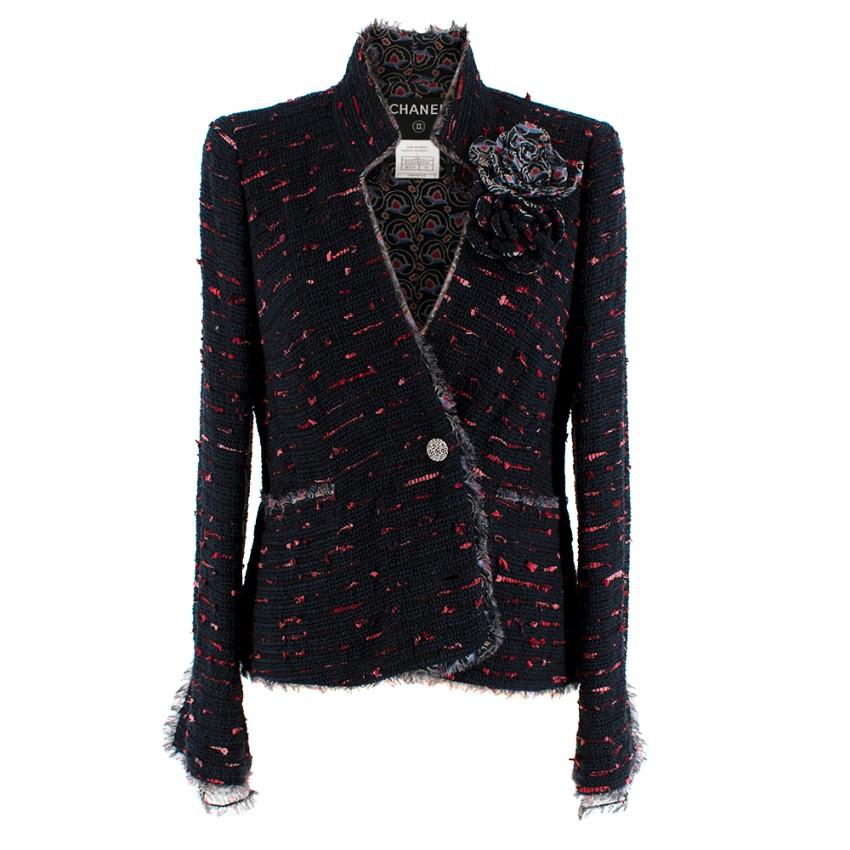 Chanel Navy & Red Camellia Lined Tweed Embellished Jacket