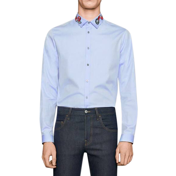 Gucci Blue Oxford Duke shirt with Kingsnake