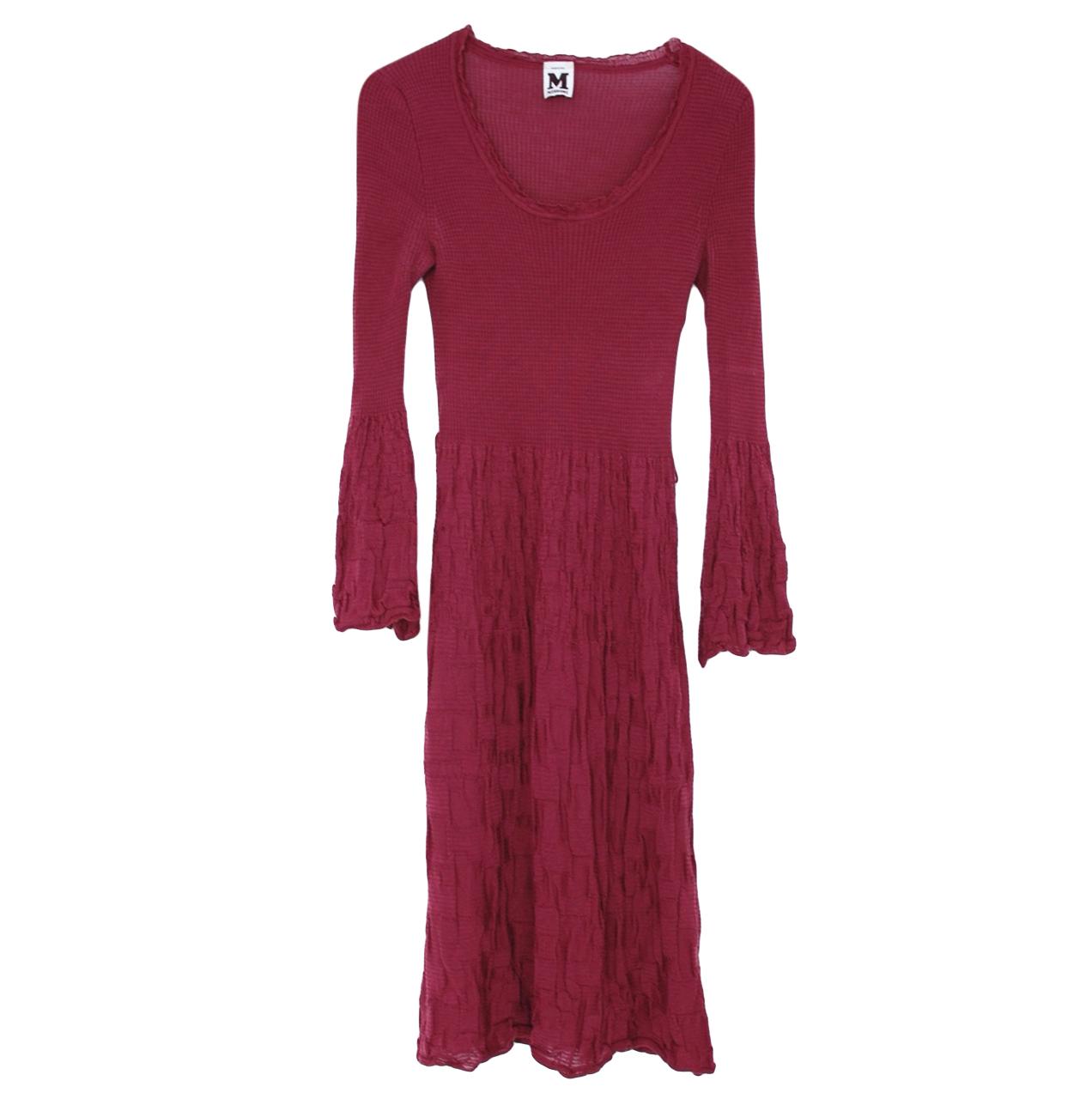 M Missoni Burgundy Knit Merino Wool Blend Dress
