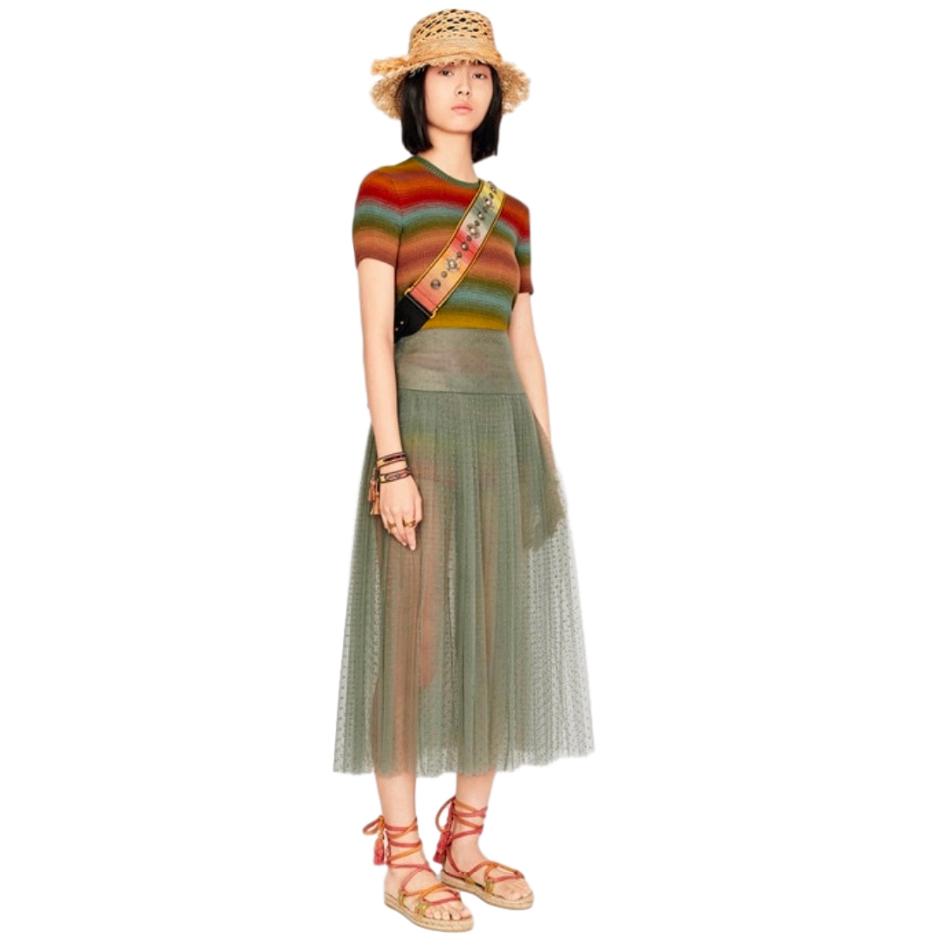 Dior Striped Short Sleeve Dioraura Wool & Silk Sweater