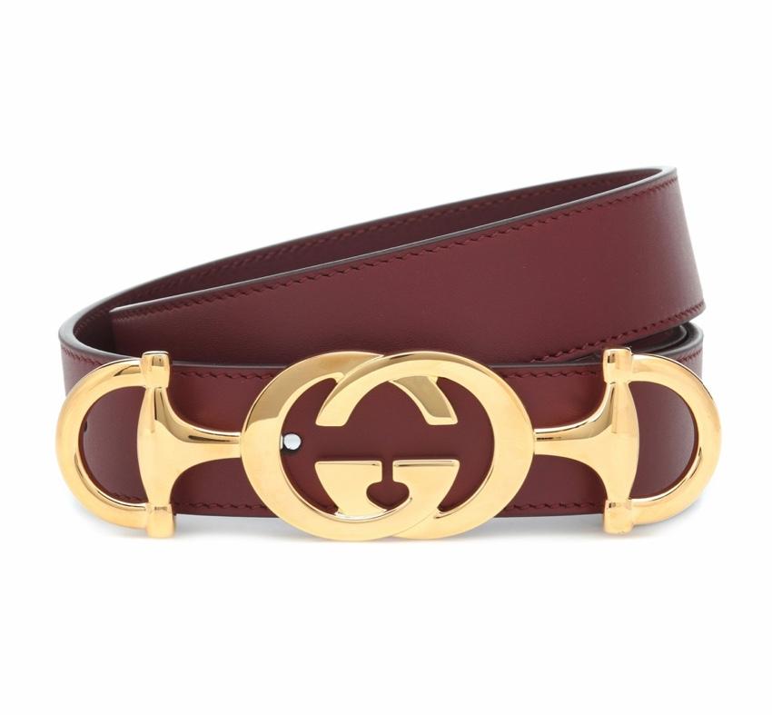 Gucci Burgundy GG Horsebit Buckle Leather Belt