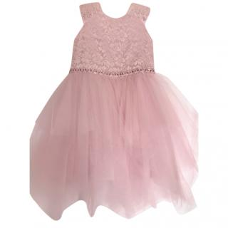 David Charles Girls Pink Lace Panelled Tulle Crystal Dress