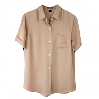 Theory Beige Silk Short Sleeve Blouse