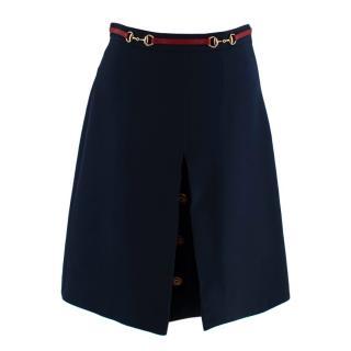Gucci Horsebit Web Stripe Navy Button Detail Skirt