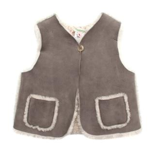 Bonpoint Grey Leather Shearling Buttoned Vest
