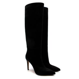Gianvito Rossi Black Suede Heeled Knee Boots