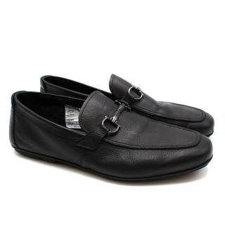 Ferragamo Black Textured Leather Gancini Loafers