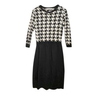 Dior Houndstooth Panelled Black & White Wool Dress