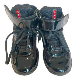 Prada Kids Black Mesh/Patent Leather High Tops