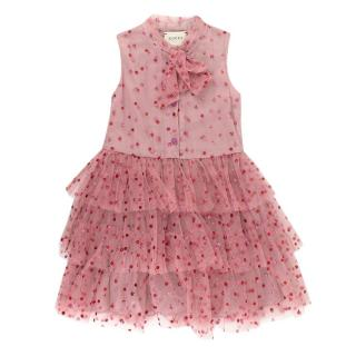 Gucci Kids-girls Glittered Polka Dots Stretch Tulle Dress