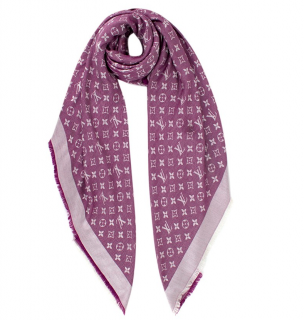Louis Vuitton Silk & Wool Monogram Lavender Shine Shawl