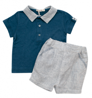 Mimu Blue Recycled Linen Kids Top & Shorts