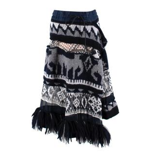Sacai Blue & Grey Knitted Chiffon Panel Asymmetric Skirt
