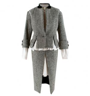 Sacai Grey Wool Chevron Tweed Layered Jacket & Skirt