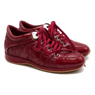 Christian Dior Red Cannage Patent Trainers