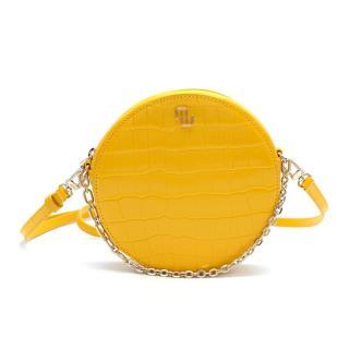 Maje Leather Yellow Round Crocodile-Effect Bag