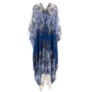 Roberto Cavali Paisley Silk Blue & White Kaftan Dress