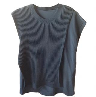 3.1 Philip Lim Ribbed Ruffle Detail Sleeveless Jumper