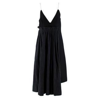 Sacai Black Wool Pleated Denim Skirt Midi Dress