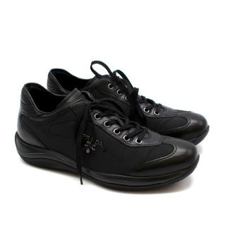 Prada Black Leather Nylon Low-Top Sneakers