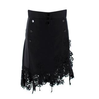 Sacai Black Sailor Button Asymmetric Lace Applique Skirt