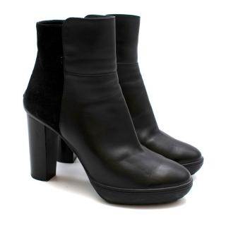Tods Black Leather Heeled Platform Ankle Boots