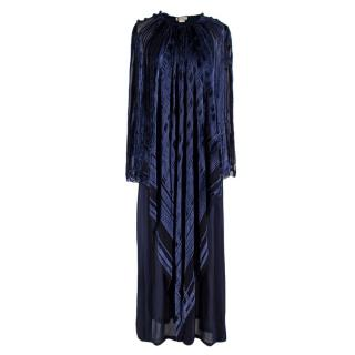 Lanvin Vintage Blue Silk-Blend Kimono Gown