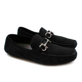 Ferragamo Black Suede Driving Loafers