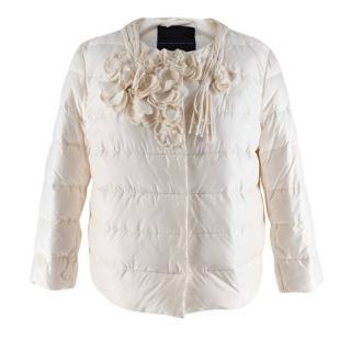 Ermanno Scervino Cream Floral Applique Collarless Puffer Jacket