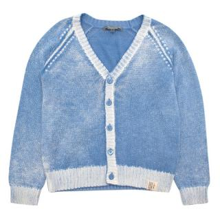 Bonpoint Blue & White Cotton Buttoned Cardigan